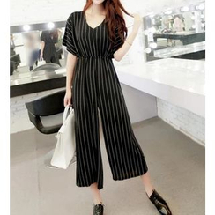 Lovi - Striped Short-Sleeve Wide-Leg Jumpsuit