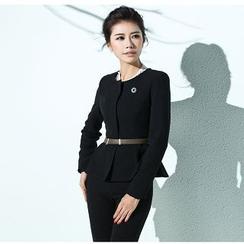 Aision - Zip Jacket / Plain Pants / Embellished-Neckline Blouse / Slit-Front Skirt
