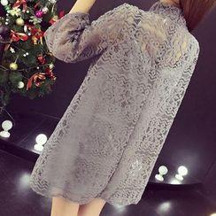 RUI - 套裝: 七分袖小高領蕾絲裙衣 + 吊帶裙