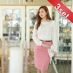 Styleberry - Set: Beaded-Neck Lace Top + Pencil Skirt with Belt