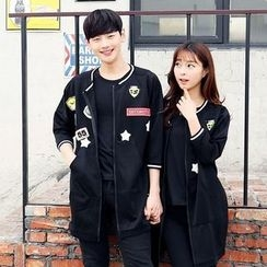 Lovebirds - Couple Applique Long Baseball Jacket