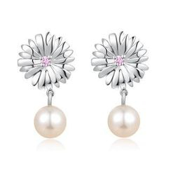 MBLife.com - Left Right Accessory - 925 Silver CZ Flower Dangling Fresh Water Pearl Stud Earrings, Women Girl Teens Fashion Jewellery