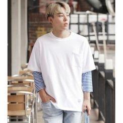 ABOKI - Cotton Stripe-Trim T-Shirt