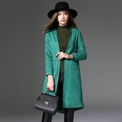 Y:Q - Plain Faux Suede Long Coat