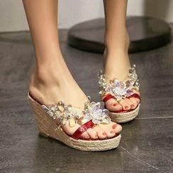 YOUIN - Jewel Flower Wedge Sandals