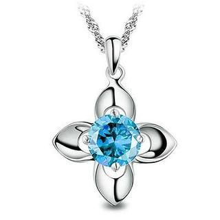 BELEC - White Gold Plated 925 Sterling Silver Flower Pendant with Blue Cubic Zirconia (with  45cm Necklace )