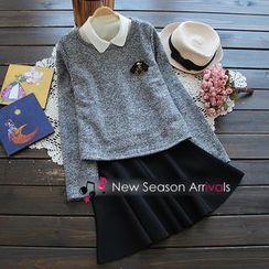 Flower Idea - Set: Brooch Knit Top + A-Line Skirt + Collar