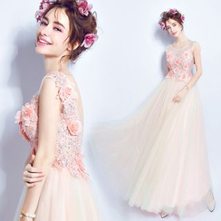 Angel Bridal - Sleeveless Applique Evening Dress