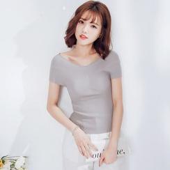 Tokyo Fashion - Ribbed Short-Sleeve T-Shirt
