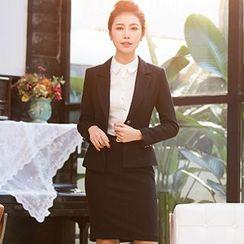 Aision - Single-Button Blazer / Blouse / Pencil Skirt
