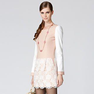 O.SA - Wool-Blend Lace-Hem Color-Block Dress