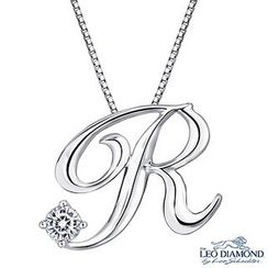 Leo Diamond - Initial Love 18K White Gold Diamond Pendant Necklace (16') - 'R'