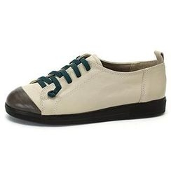MODELSIS - Genuine Leather Contrast-Detail Sneakers