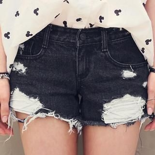 NANING9 - Denim Distressed Shorts