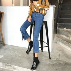 Bloombloom - Slit Cropped Boot Cut Jeans