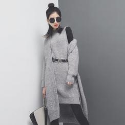 Sonne - 加厚针织开毛衣连衣裙套装