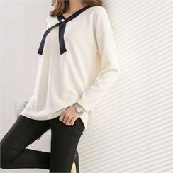 PEPER - Drop-Shoulder Faux-Pearl Detail Knit Top