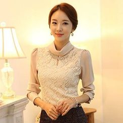 Lovebirds - Long-Sleeve Lace-Panel Blouse