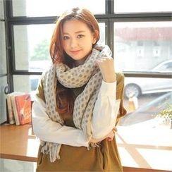 Styleberry - 印花針織流蘇大圍巾
