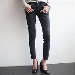 YOOM - Washed Fray-Hem Skinny Jeans