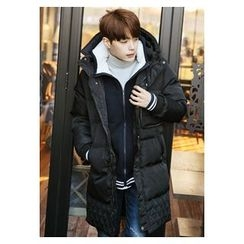 HOTBOOM - Detachable-Hooded Stand-Collar Padded Coat
