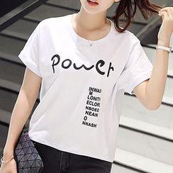 Q.C.T - Short-Sleeve Lettering T-Shirt