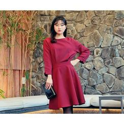 HOTPING - 3/4-Sleeve Ruffle-Hem Dress