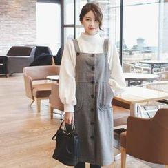 mimi&didi - Buttoned Wool Blend Midi Jumper Dress