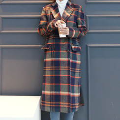 DANI LOVE - Double-Breasted Checked Long Coat