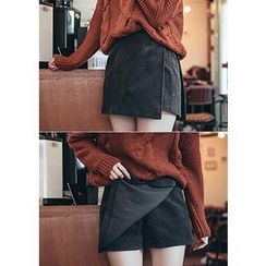 Chlo.D.Manon - Inset Shorts Corduroy Mini Wrap Skirt
