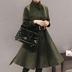 Donnae - Buttoned Long-Sleeve Coatdress