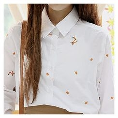 Sechuna - Long-Sleeve Embroidered Shirt