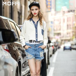 MOFFI - Denim Panel Knit Jacket