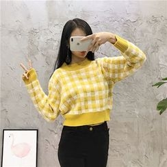 Octavia - Gingham Cropped Sweater
