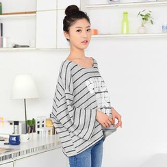 59 Seconds - 3/4-Sleeve Lettering Striped Top