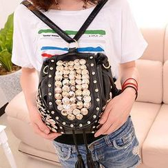 Miss Sweety - Faux-Leather Buttoned Rhinestone Fringe Backpack