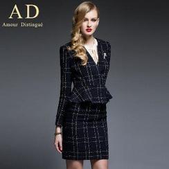 Aision - Set: Ruffle Check Jacket + Pencil Skirt