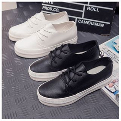 EUNICE - Faux-Leather Lace-Up Sneakers