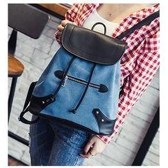 Merlain - Drawstring Flap Backpack