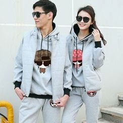 Matcha House - Couple Matching Set: Printed Hoodie + Zip Vest + Sweatpants