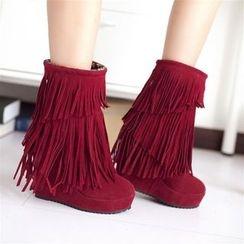 EMIL - Fringe Wedge Short Boots