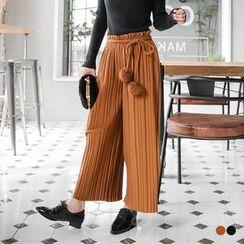 OrangeBear - Pommed Self-Tie Pleated Gaucho Pants