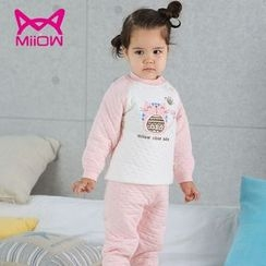MiiOW - Kids Set: Cat Print Raglan T-Shirt + Pants