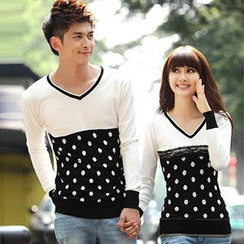Igsoo - Couple Long-Sleeve Dotted Knit Top