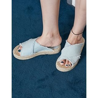 FROMBEGINNING - Fringed-Denim Espadrille Mules