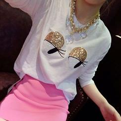 Cerulean - Set: Long-Sleeve Sequined Eye T-Shirt + Pencil Mini Skirt