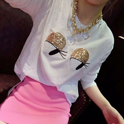 Cerulean - Set: Long-Sleeve Sequined T-Shirt + Pencil Skirt