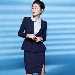 Aision - Blazer / Blouse / Pencil-Cut Skirt