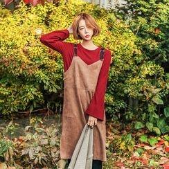 Seoul Fashion - Faux-Suede Jumper Dress