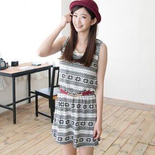 CatWorld - Sleeveless Printed A-Line Knit Dress